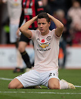 Manchester United's Ander Herrera shows his frustration after missing a chance to score<br /> <br /> Photographer David Horton/CameraSport<br /> <br /> The Premier League - Bournemouth v Manchester United - Saturday 3rd November 2018 - Vitality Stadium - Bournemouth<br /> <br /> World Copyright &copy; 2018 CameraSport. All rights reserved. 43 Linden Ave. Countesthorpe. Leicester. England. LE8 5PG - Tel: +44 (0) 116 277 4147 - admin@camerasport.com - www.camerasport.com