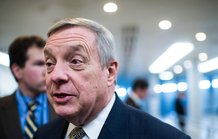 UNITED STATES - JANUARY 29: Sen. Dick Durbin, D-Ill., speaks with reporters as he arrives in the Capitol for votes on Thursday, Jan. 29, 2015. (Photo By Bill Clark/CQ Roll Call)