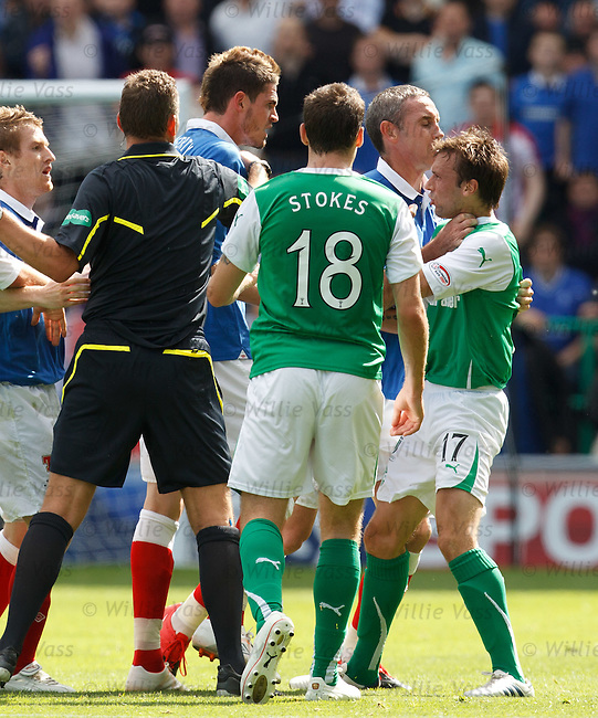 Kyle Lafferty squares up to Kevin McBride and both are sent off as David Weir grabs McBride by the throat