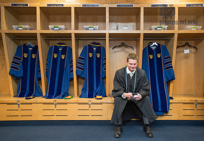 May 15, 2016; Football locker room before 2016 Commencement Ceremony at Notre Dame Stadium. (Photo by Barbara Johnston/University of Notre Dame)