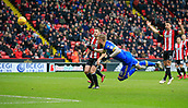 10th February 2018, Bramall Lane, Sheffield, England; EFL Championship football, Sheffield United versus Leeds United; Pontus Jansson of Leeds United aims a diving header at goal but it goes wide