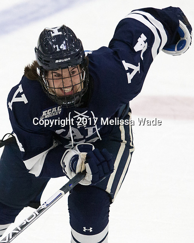 Mitchell Smith (Yale - 14) - The Harvard University Crimson tied the visiting Yale University Bulldogs 1-1 on Saturday, January 21, 2017, at the Bright-Landry Hockey Center in Boston, Massachusetts.