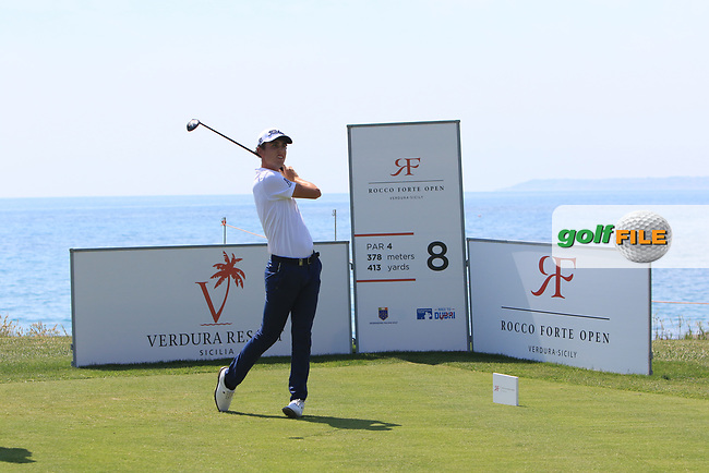 Renato Paratore (ITA) on the 8th tee during Round 1 of The Rocco Forte Open  at Verdura Golf Club on Thursday 18th May 2017.<br /> Photo: Golffile / Thos Caffrey.<br /> <br /> All photo usage must carry mandatory copyright credit     (&copy; Golffile | Thos Caffrey)