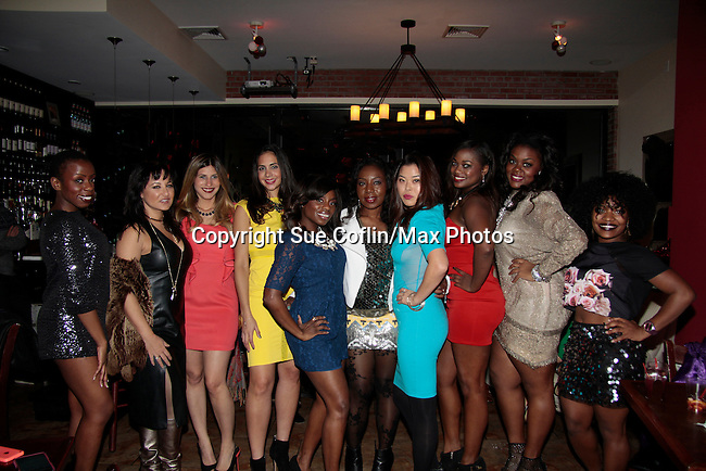 Tsadiqwah - Samantha von Sperlilng - Chanel Omari - Wendy Gonzalez  - Delaina Dixon - Maureen Martin - Soo Kim - Nicole Ferrell - Tiffany Chanel - x - INAANTA Hair International Launch Party hosted by Diva Gals Daily on November 15, 2014 at El Cid, New York City, New York. It is a new high-end Remy Extension line. This party is to get a good look at luxury hair collection.  (Photo by Sue Coflin/Max Photos)