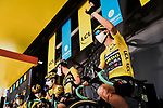 Race leader Wout Van Aert (BEL) and Team Jumbo-Visma at sign on before the start of Stage 2 of Criterium du Dauphine 2020, running 135km from Vienne to Col de Porte, France. 13th August 2020.<br /> Picture: ASO/Alex Broadway | Cyclefile<br /> All photos usage must carry mandatory copyright credit (© Cyclefile | ASO/Alex Broadway)