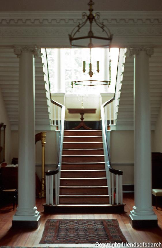 Annapolis:  Chase-Lloyd House--interior.  Palladian window, stairways, columns.  Photo '85.