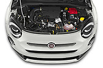 Car Stock 2020 Fiat 500X Sport 5 Door SUV Engine  high angle detail view