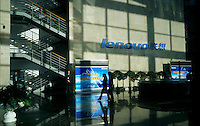 The lobby of Lenovo headquarters in Beijing, China..