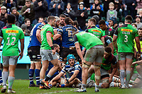 Nathan Catt of Bath Rugby is congratulated on a first half try. Gallagher Premiership match, between Bath Rugby and Harlequins on March 2, 2019 at the Recreation Ground in Bath, England. Photo by: Patrick Khachfe / Onside Images