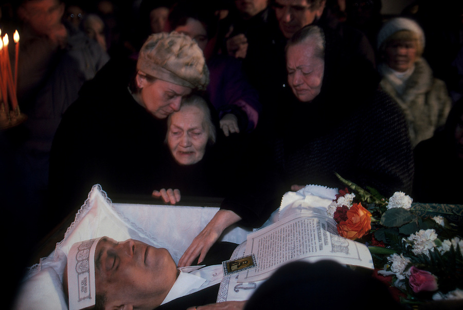 Moscow, Russia, 1994..Funeral of Sergei Dubov, businessman & publisher murdered in apparent contract killing.