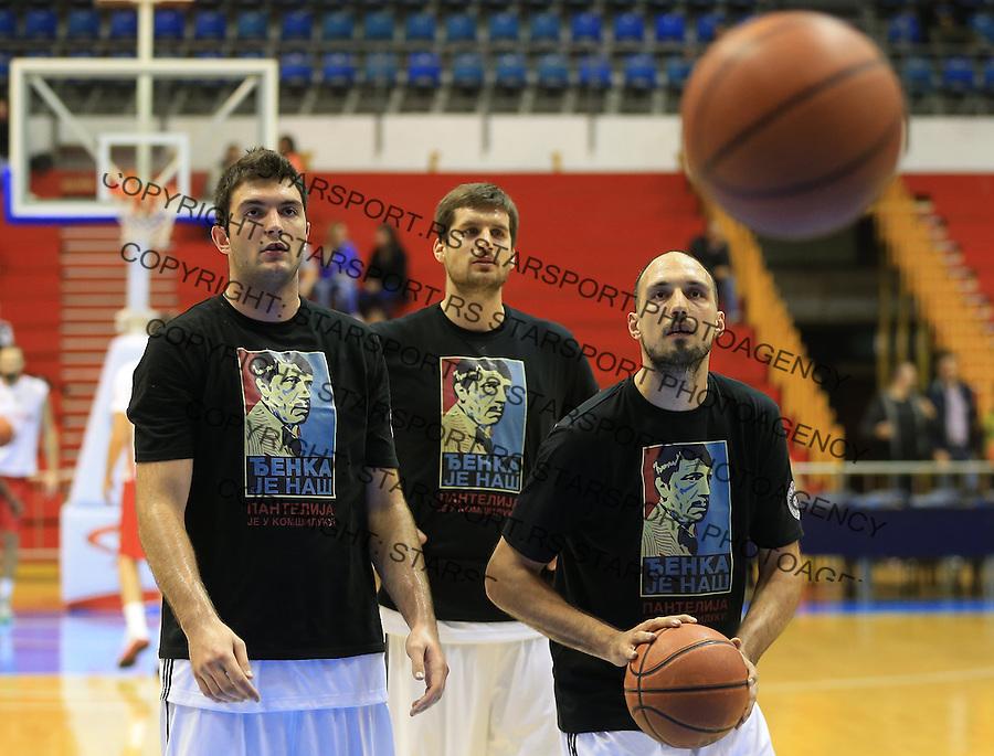 Kosarka Friendly match season 2014-2015<br /> Partizan Vs. Armani Jeans<br /> Djoko Salic (L) Djordje Gagic and Luka Bogdanovic<br /> Beograd, 25.09.2014.<br /> foto: Srdjan Stevanovic/Starsportphoto&copy;