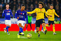 9th November 2019; King Power Stadium, Leicester, Midlands, England; English Premier League Football, Leicester City versus Arsenal; Youri Tielemans of Leicester City is put under pressure by Matteo Guendouzi of Arsenal - Strictly Editorial Use Only. No use with unauthorized audio, video, data, fixture lists, club/league logos or 'live' services. Online in-match use limited to 120 images, no video emulation. No use in betting, games or single club/league/player publications