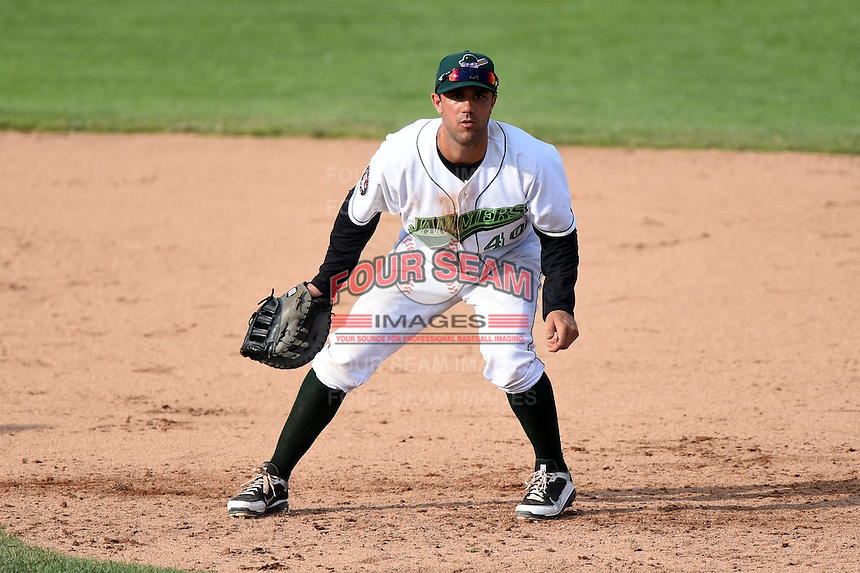 Jamestown Jammers first baseman Andrew Lambo (40), on rehab assignment, during a game against the Vermont Lake Monsters on July 13, 2014 at Russell Diethrick Park in Jamestown, New York.  Jamestown defeated Vermont 6-2.  (Mike Janes/Four Seam Images)