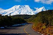 Looking up Ohakune Mountain road to the Turoa skifield area on Mountain Ruapehu, Tongariro National Park, Central Plateau, North Island, New Zealand