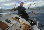 Michael Spring  disabled sailor, single hand return trip to the Azores 1983 to raise money for the Pain Relief Foundation. <br /> Mike lost the use of his legs in a car accident on the A5 road England and went on to make many solo sea voyages. Seen here sailing off the coast of Sao Miguel Island  the largest island in the Azores