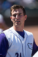 Thaddius Lowry (24) of the Winston-Salem Dash watches the action from the dugout during the game against the Salem Red Sox at BB&T Ballpark on April 17, 2016 in Winston-Salem, North Carolina.  The Red Sox defeated the Dash 3-1.  (Brian Westerholt/Four Seam Images)