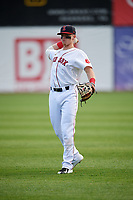 Salem Red Sox second baseman Brett Netzer (13) warms up before a game against the Lynchburg Hillcats on May 10, 2018 at Haley Toyota Field in Salem, Virginia.  Lynchburg defeated Salem 11-5.  (Mike Janes/Four Seam Images)