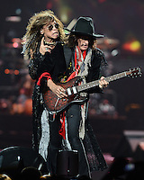 SUNRISE, FL - DECEMBER 09:  Steven Tyler and Joe Perry of Aerosmith perform at the BB&T Center on December 9, 2012 in Miami.  Credit: mpi04/MediaPunch Inc. /NortePhoto