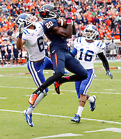 Virginia wide receiver Tim Smith (20) Duke cornerback Ross Cockrell (6) DUPLICATE***Duke safety Jeremy Cash (16)***Duke quarterback Robert Collins (16) Duke defeated Virginia 35-22 at Scott Stadium in Charlottesville, VA. . Photo/Andrew Shurtleff