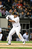 Chicago White Sox outfielder Dayan Viciedo (24) at bat during a game against the Toronto Blue Jays on August 15, 2014 at U.S. Cellular Field in Chicago, Illinois.  Chicago defeated Toronto 11-5.  (Mike Janes/Four Seam Images)