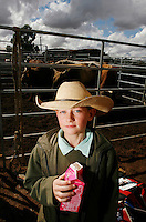 A young Jackaroo (Cowboys apprentice) is pictured at the National schools rodeo final in Dubbo, New South Wales..Rodeo is an integral part of rural Australian lifestyle and competitors travel great distances to compete on the circuit. Rodeo consists of many events ? ladies barrel race, saddle bronc riding, bull riding, bareback bronc riding, rope and tie, steer wrestling, team roping and the steer ride. ..