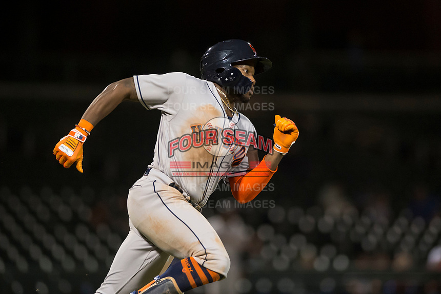 Scottsdale Scorpions center fielder Ronnie Dawson (4), of the Houston Astros organization, runs to first base during an Arizona Fall League game against the Mesa Solar Sox at Sloan Park on October 10, 2018 in Mesa, Arizona. Scottsdale defeated Mesa 10-3. (Zachary Lucy/Four Seam Images)