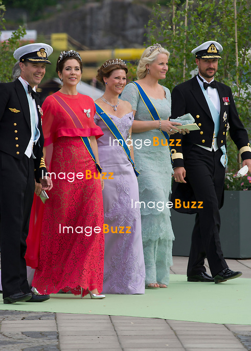 CROWN PRINCE FREDERIK, PRINCESS MARY, PRINCESS MARTHA LOUISE, PRINCESS METTE-MARIT AND CROWN PRINCE HAAKON<br /> arrive for a boat ride to Drottingholm Palace for the Wedding Banquet Riddarholmen, Stockholm, Sweden_08/06/2013<br /> Princess Madeleine married Christopher O'Neill at the Royal Chapel, Royal Palace in Stockholm