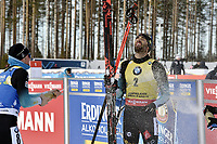 March 14th 2020, Kontiolahti, Finland;   Simon Desthieux L of France sprays champagne at Martin Fourcade of France who celebrates victory and end of career after the mens 12.5 km Pursuit competition at the IBU Biathlon World Cup in Kontiolahti, Finland, on March 14, 2020. Fourcade ends his career now at the end of the season in Kontiolahti where he took his first World Cup victory exactly 10 years ago on March 14, 2010.