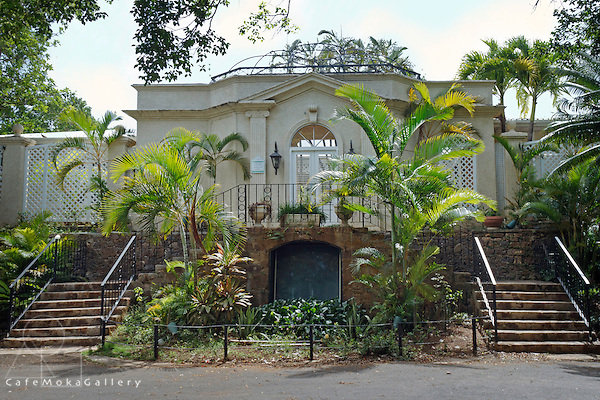 St Lucia Great House front entrance with two staircases and an arched doorway,Cap Estate St Lucia