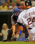 12 September 2008: Kansas City Royals' catcher Miguel Olivo is unable to get Grady Sizemore out at the plate in the 6th inning during a game against the Cleveland Indians at Progressive Field in Cleveland, Ohio. The Indians defeated the Royals 12-5 in the first game of their 4-game series...Mandatory Photo Credit: Ed Wolfstein Photo