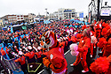 Tiger fans enjoy a Clemson pep rally at the Allstate Fan Fest featuring the marching band and cheerleaders in New Orleans, La., on Dec. 31, 2017.  Clemson plays the Alabama Crimson Tide in the Allstate Sugar Bowl at the Mercedes-Benz Superdome on Jan. 1, 2018.(Cheryl Gerber/AP Images for Allstate)