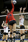 SIOUX FALLS, SD - DECEMBER 8:  Emma Schleucher #24 from Wheeling Jesuit looks to get a kill past  Elizabeth Hyland #6 from Lewis during their quarterfinal match at the 2016 Women's Division II Volleyball Championship at the Sanford Pentagon in Sioux Falls, SD. (Photo by Dave Eggen/Inertia)