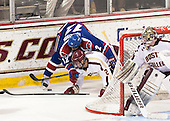 Josh Holmstrom (UML - 12), Colin Sullivan (BC - 2), Parker Milner (BC - 35) - The University of Massachusetts Lowell River Hawks defeated the Boston College Eagles 4-2 (EN) on Tuesday, February 26, 2013, at Kelley Rink in Conte Forum in Chestnut Hill, Massachusetts.