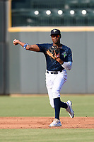 Shortstop Shervyen Newton (3) of the Columbia Fireflies plays defense in a game against the Augusta GreenJackets on Saturday, June 1, 2019, at Segra Park in Columbia, South Carolina. Columbia won, 3-2. (Tom Priddy/Four Seam Images)