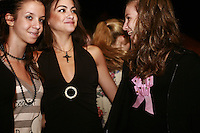 September 23, 2007; (L-R) Patras, Greece;  Evi Plexida, Ioanna Diamantidou, Dimitra Kafalidou of Greece and Greek senior rhythmic have happy times during banquet at 2007 World Championships Patras. Photo by Tom Theobald. <br /> <br /> Photo note: Thanks to Sofia for update info of gymnast id's (I was not even close!).  Difficult at banquets because the teams and gymnasts look a little different from when they are in trainings or competitions etc.