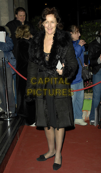 FIONA SHAW.Arrivals - Laurence Olivier Awards at the Grosvenor Hotel, Park Lane, London, UK..February 18th, 2007.full length black dress fur jacket trim.CAP/CAN.©Can Nguyen/Capital Pictures