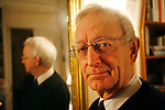 Michael Edwards, professor of English and French literature in Paris. He is a candidate for the Academie Francaise, February 2008. If he wins this, he will the first ever English person to hold this title.///Portrait of Professor Michael Edwards with a mirroe and his reflection