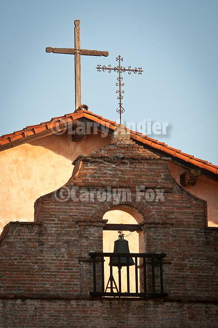 Crosses, bell, Mission San Antonio de Padua, California.