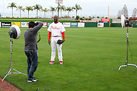 February 24, 2010:  Pitcher Jose Contreras of the Philadelphia Phillies poses for photographer Tom DiPace during photo day at Bright House Field in Clearwater, FL.  Photo By Mike Janes/Four Seam Images