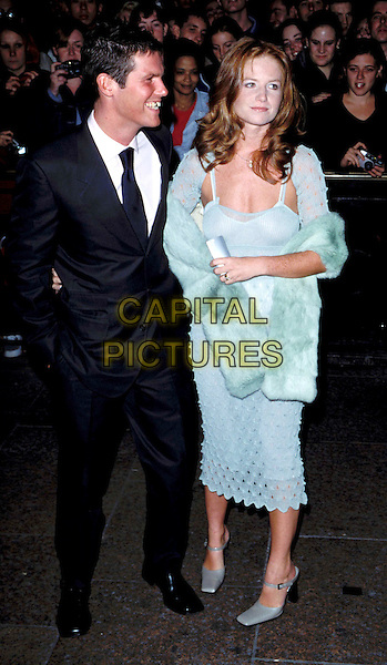 PATSY PALMER & HUSBAND NICK LOVE..Ref: 7752..mint green, fur stole, crocheted dress, full length..www.capitalpictures.com..sales@capitalpictures.com....(LIB004)