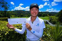 Grace Kim with her scorecard. 2018 Annika Australiasia Invitational Junior-Am at Royal Wellington Golf Club in Upper Hutt, Wellington, New Zealand on Saturday, 15 December 2018. Photo: Dave Lintott / lintottphoto.co.nz