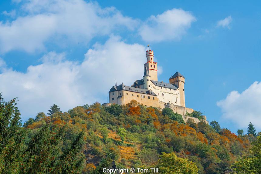 Marksburg Castle, Rhine River, Germany , Rhineland Region. 13th Century Castle Upper Middle Rhine Valley UNESCO World Heritage Site