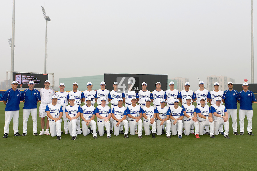 20 August 2007: Team France poses during the Good Luck Beijing International baseball tournament (olympic test event) at the Wukesong Baseball Field in Beijing, China. First row, front, from left to right: Giovanni Ouin, Gregory Cros, Pierre Le Guillou, David Gauthier, Philippe Lecourieux, Boris Marche, Yann Dal Zotto, Sebastien Herve, Florian Peyrichou, Kenji Hagiwara, Vincent Ferreira, Anthony Cros. Second row, back, from left to right: Boris Rothermundt, Joshua Ridgway, unidentified doctor, Anthony Piquet, Jamel Boutagra, Luc Piquet, Pat Carlson, Pierrick Le Mestre, Jerome Rousseau, Gaspard Fessy, Maxime Leblanc, Nicolas Dubaut, Samuel Meurant, Edouard Masse, Matthieu Brelle-Andrade, Sylvain Virey, Jeff Zeilstra