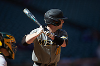Clayton Peterson (10) of the Missouri Tigers at bat against the Baylor Bears in game one of the 2020 Shriners Hospitals for Children College Classic at Minute Maid Park on February 28, 2020 in Houston, Texas. The Bears defeated the Tigers 4-2. (Brian Westerholt/Four Seam Images)