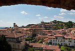 The city of Bergamo, Italy as seen from one of the bell towers