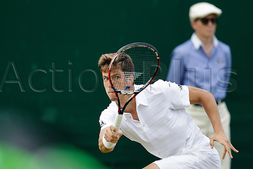 02.07.2015.  Wimbledon, England. The Wimbledon Tennis Championships. Gentlemen's Singles second round match between Aljaz Bedene (GBR) and Viktor Troicki (SRB).  Aljaz Bedene in action