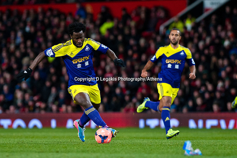 Sunday 05 January 2014<br /> Pictured:Wilfried Bonymakes a run for goal<br /> Re: Manchester Utd FC v Swansea City FA cup third round match at Old Trafford, Manchester