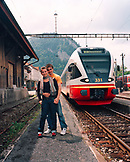 FRANCE, Fleurier, a young couple waits for their train at the train station in the town of Fleurier