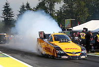 Aug. 2, 2014; Kent, WA, USA; NHRA funny car driver Del Worsham during qualifying for the Northwest Nationals at Pacific Raceways. Mandatory Credit: Mark J. Rebilas-USA TODAY Sports