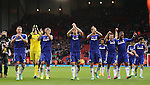 Chelsea players celebrate the win with their fans  - Barclays Premier League - Liverpool vs Chelsea - Anfield Stadium - Liverpool - England - 8th November 2014  - Picture Simon Bellis/Sportimage